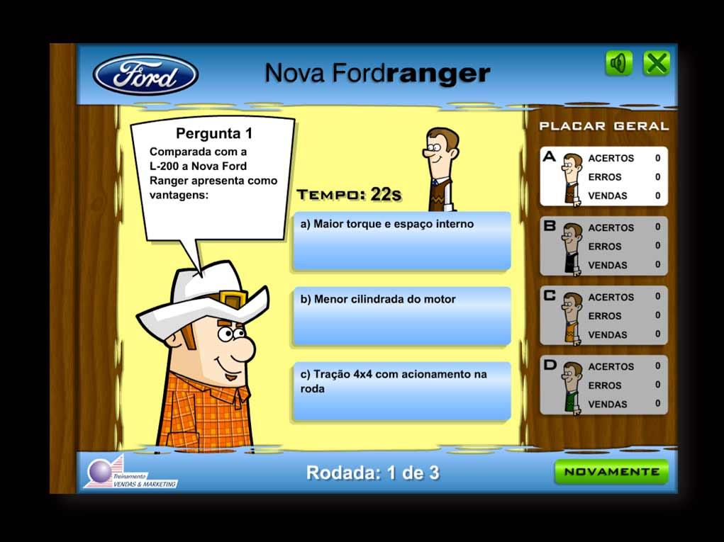 Ford Ranger: jogo para Treinamento de vendedores que disputam entre si quem conhece melhor seus clientes e sabe vencer objeções.