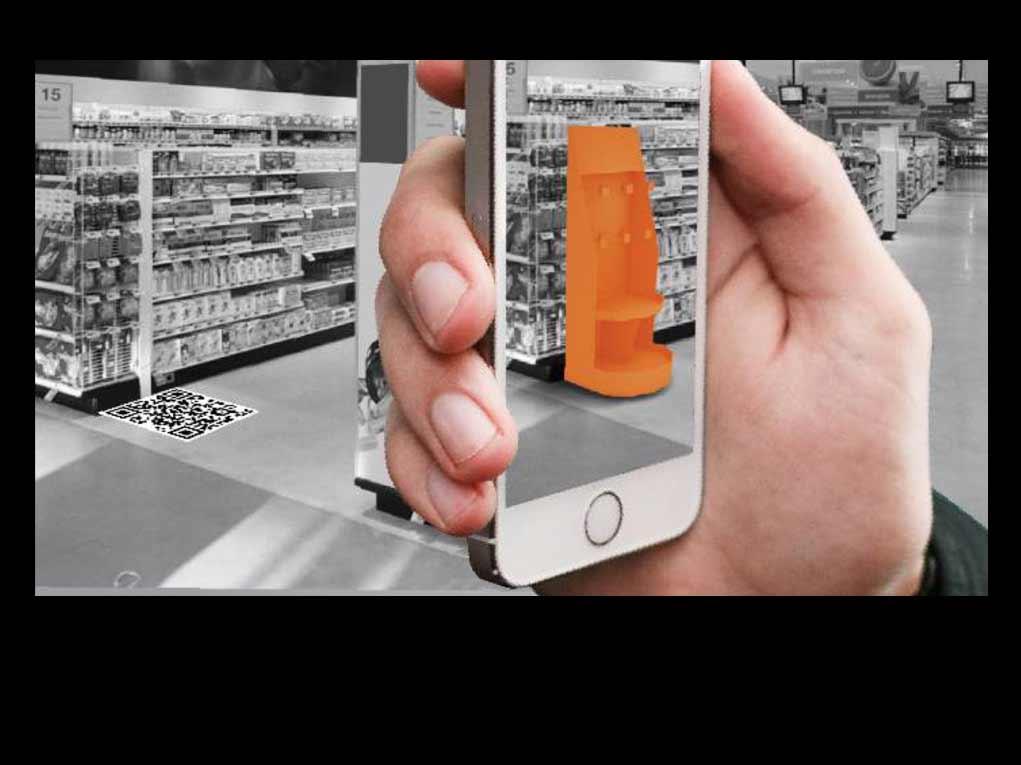O aplicativo de Realidade Aumentada permite simular materiais de merchandising em tamanho real com escala 1:1.