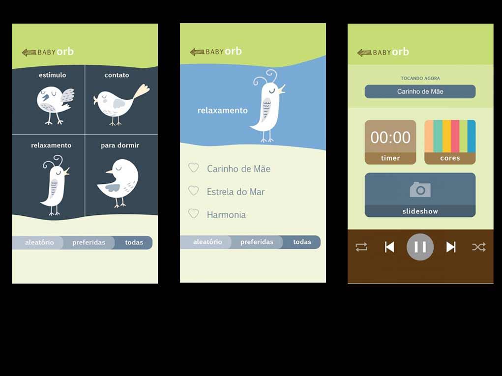 Selecione entre quatro estímulos diferentes com diferentes playlists. Enquanto o bebê ouve, o aplicativo permite gerar um dimer de luzes para gerar um clima gostoso ou um slideshow com fotos da familia!