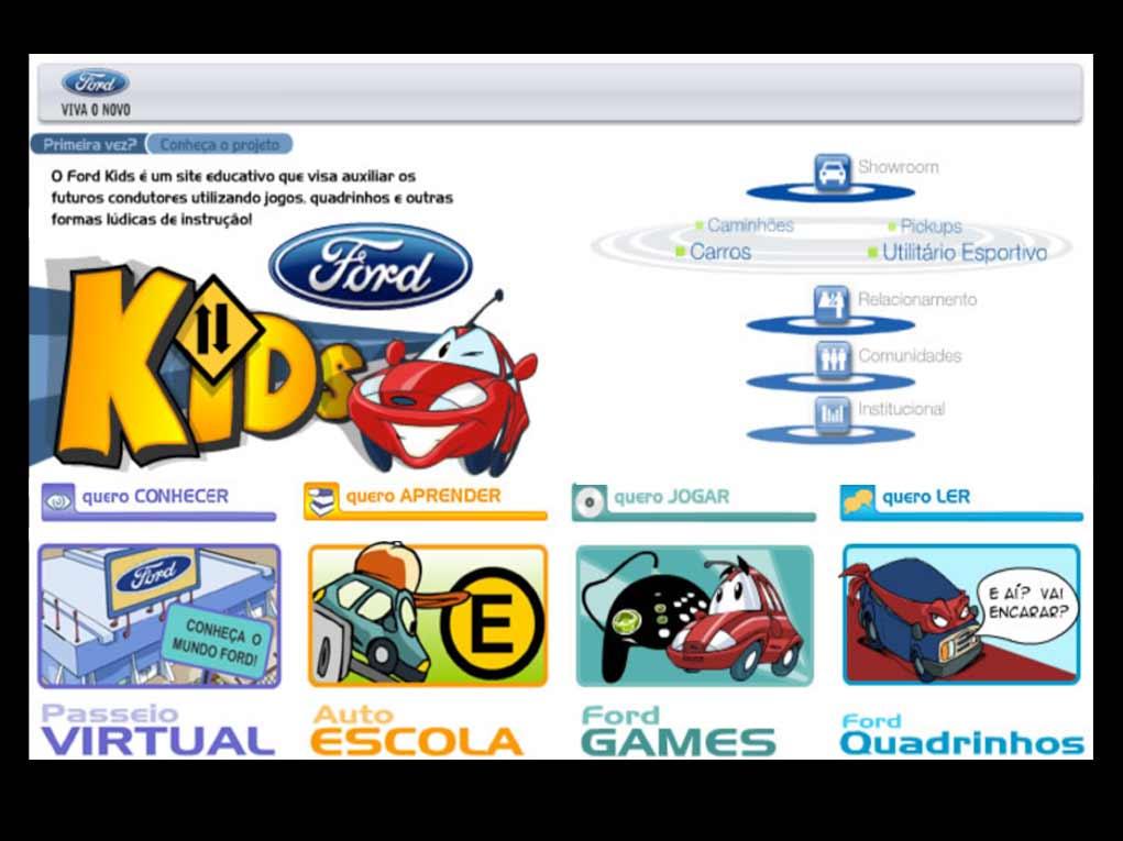Site infantil da Ford Motors com conteúdos que ensinam conceitos de segurança, direção, mecânica e história dos automóveis.