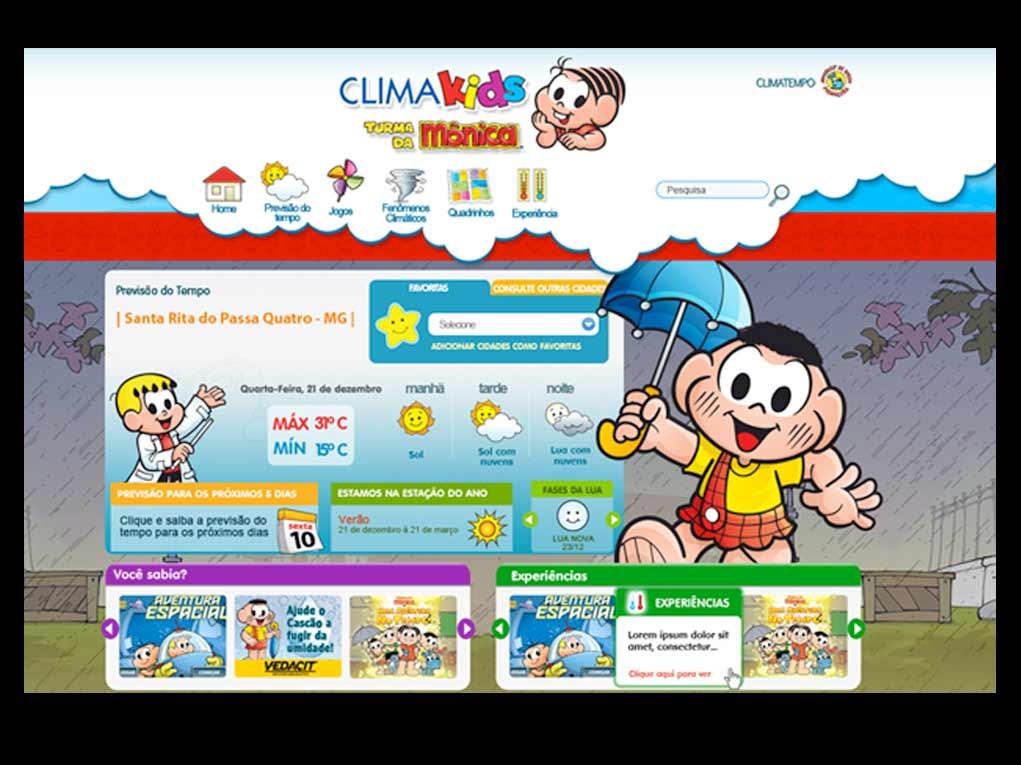 Previsão do tempo e tudo mais sobre o clima com a Climatempo & Turma da Mônica: http://www.climakids.com.br