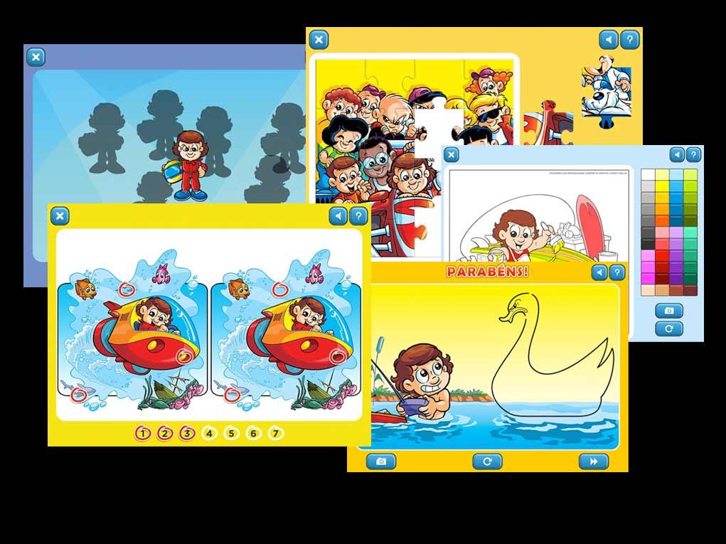 Jogo dos 7 erros, Quebra-cabeças, Encontre o Iguais, Jogos de colorir... São oito tipos diferentes de passatempos!