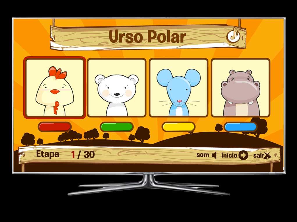 Um jogo delicado para crianças de até 5 anos se divertirem tentando adivinhar o animal correto pelos sons e imagens!