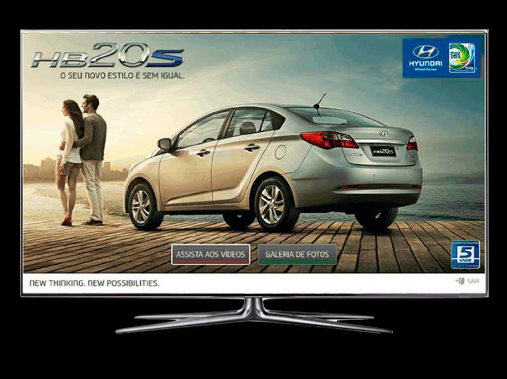 O lançamento do novo Hyundai HB20 ficou mais estrelado com o aplicativo HD para SmartTVs das marcas Samsung e LG.