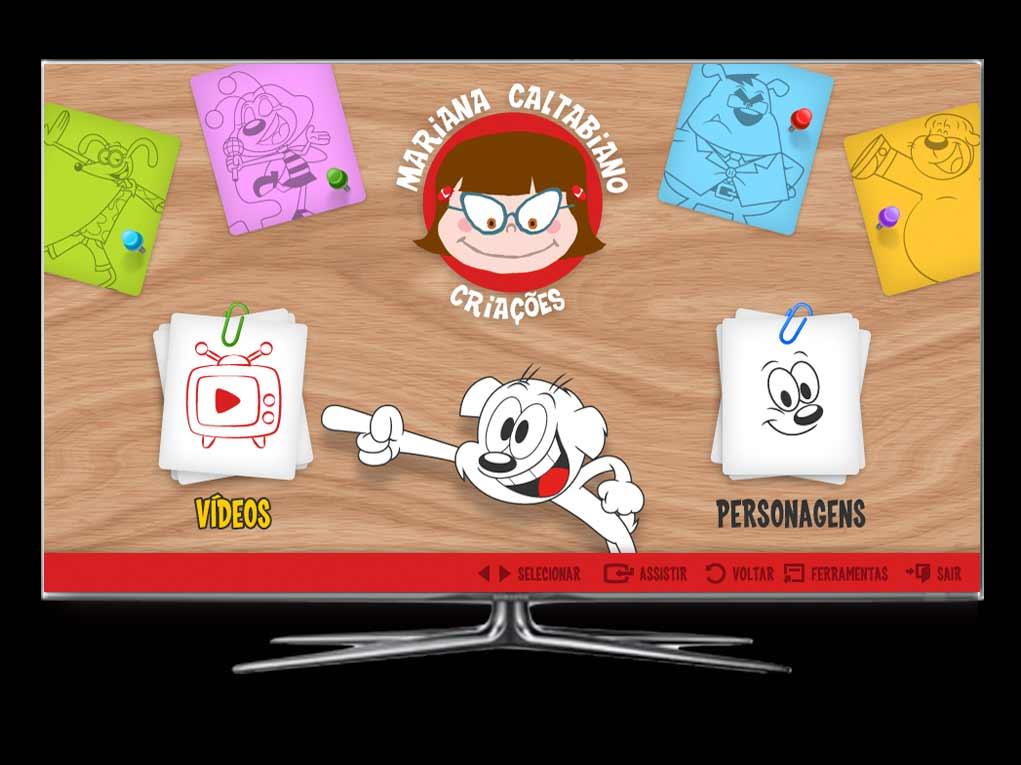 O aplicativo de desenhos animados do estúdio Mariana Caltabiano com plataforma para gestão dos vídeos e destaques.